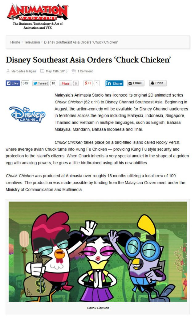 MAY 2015 animationmagazine.net Disney Southeast Asia Orders 22Chuck Chicken22