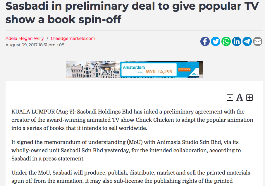 SASBADI IN PRELIMINARY DEAL TO GIVE POPULAR TV SHOW A BOOK SPIN-OFF - Article