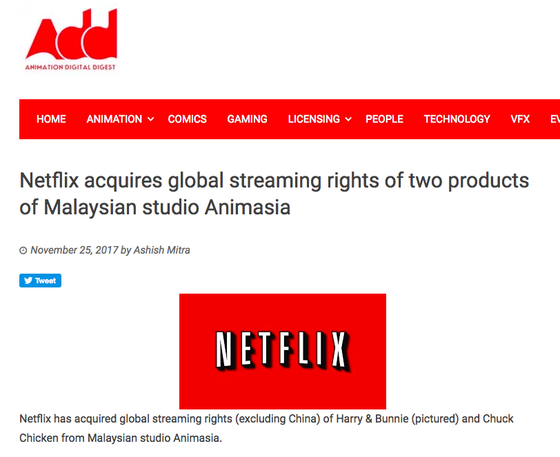 NETFLIX ACQUIRES GLOBAL STREAMING RIGHTS OF TWO PRODUCTS OF MALAYSIAN STUDIO ANIMASIA