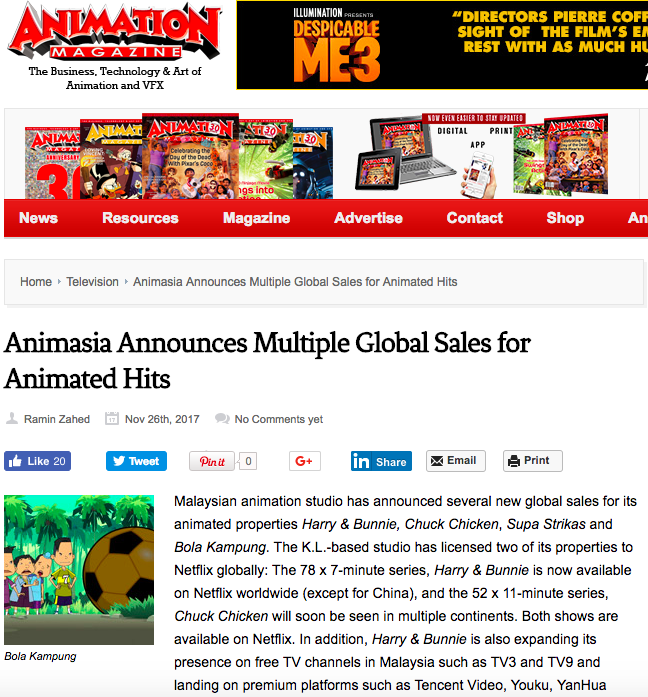 ANIMASIA ANNOUNCES MULTIPLE GLOBAL SALES FOR ANIMATED HITS