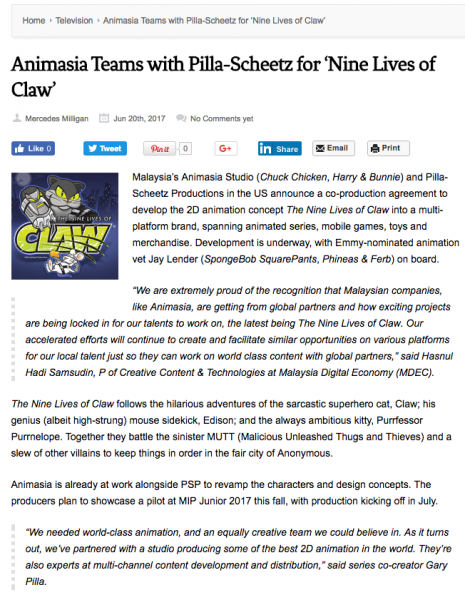 ANIMASIA TEAMS WITH PILLA-SCHEETZ FOR 'NINE LIVES OF CLAW' - Article