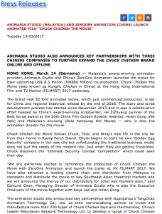 """ANIMASIA ANIMATION STUDIO (MALAYSIA) AND ZEROONE ANIMATION (CHINA) LAUNCH ANIMATED FILM """"CHUCK CHICKEN THE MOVIE"""" - Article"""