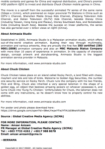 """ANIMASIA ANIMATION STUDIO (MALAYSIA) AND ZEROONE ANIMATION (CHINA) LAUNCH ANIMATED FILM """"CHUCK CHICKEN THE MOVIE"""" - Article 2"""