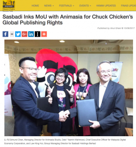 SASBADI INKS MOU WITH ANIMASIA FOR CHUCK CHICKEN'S GLOBAL PUBLISHING RIGHTS - Article