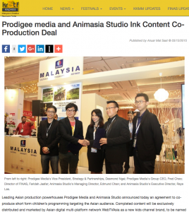 PRODIGEE MEDIA AND ANIMASIA STUDIO INK CONTENT CO - Article